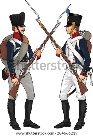 Prussian and French Soldiers from Napoleonic Wars Clashing Each Others Weapons, Illustration Isolated on White Background, EPS 10 Vector - stock vector