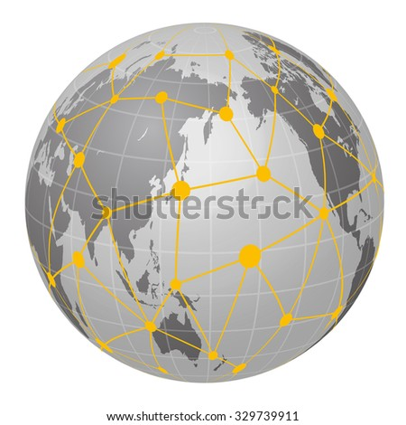 Pseudo Earth that contains the whole world map and Worldwide network, image illustration - stock vector