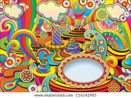 psychedelic background in a retro style - stock vector