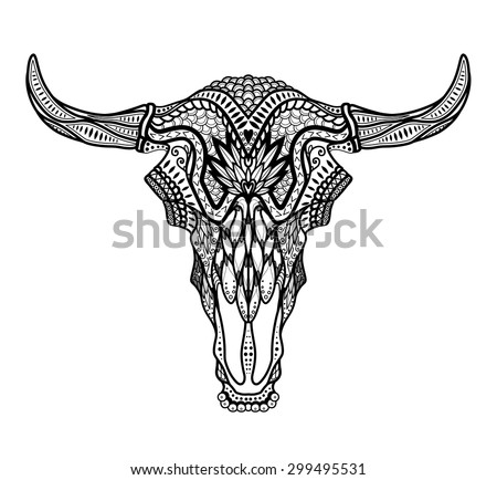 Psychedelic Bull / auroch skull with horns on white background. With ornament on head - stock vector