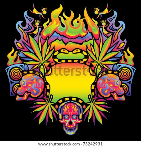Psychedelic cannabis flyer vector background - stock vector
