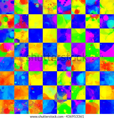 Psychedelic checkerboard pattern. Bright stains and smudges. Motley seamless abstract background is divided into cells. Stains and blots randomly mixed. Colorful, easy editable texture. - stock vector