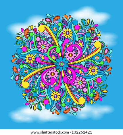 Psychedelic cloud background, eps10 vector - stock vector