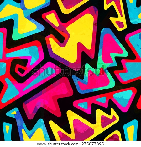 psychedelic colored seamless pattern with grunge effect  - stock vector