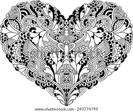 psychedelic doodle heart - stock vector