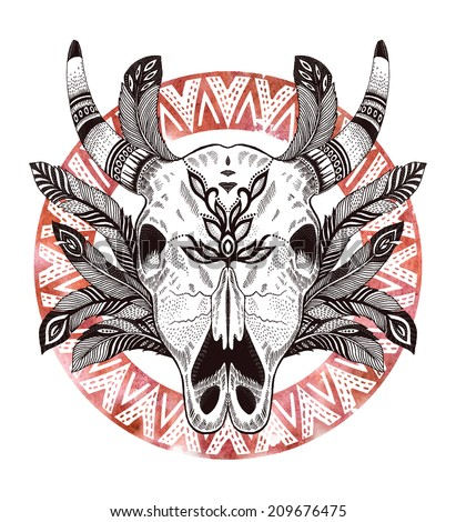 psychedelic ethnic cow scull with feathers and border - stock vector
