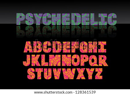 Psychedelic Font Alphabet A through Z EPS 8 vector, grouped for easy editing. No ope shapes or paths. - stock vector
