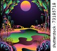 Psychedelic forest landscape vector illustration - stock