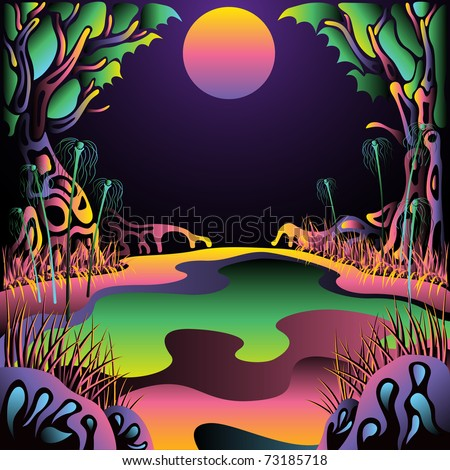 Psychedelic forest landscape vector illustration - stock vector