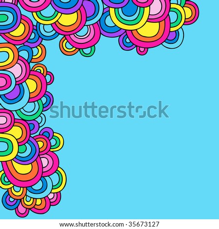 Psychedelic Groovy Abstract Semi-Circle Border Vector - stock vector