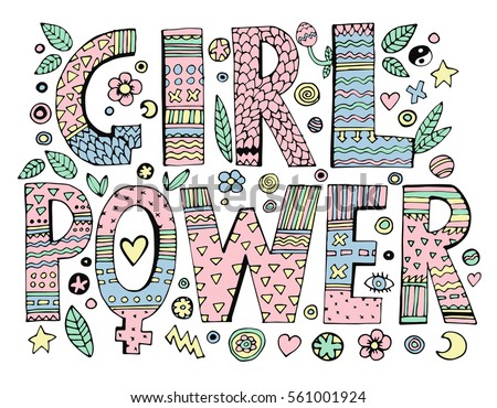 Psychedelic Hippie Girl Power Lettering With Colorful FlowersIsolated On White BackgroundQuote Design