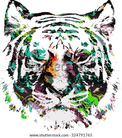 psychedelic illustration of tiger - stock vector
