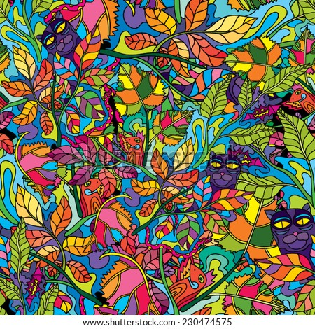 Psychedelic jungle forest floral colorful seamless pattern vector illustration - stock vector