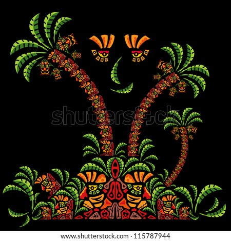 Psychedelic jungle ornament element vector design