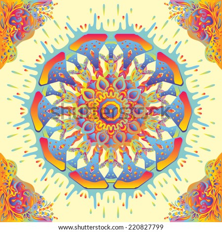Psychedelic kaleidoscopic seamless pattern vector illustration - stock vector