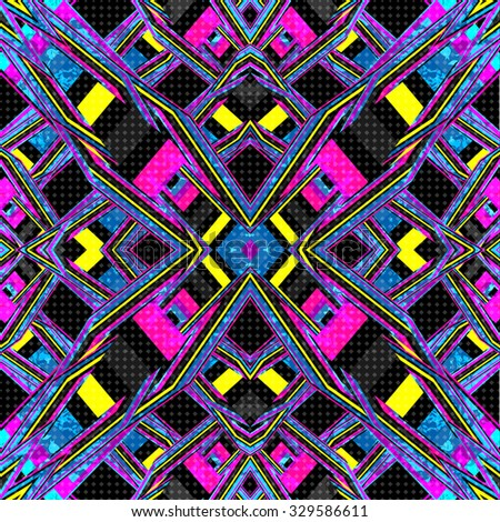 psychedelic lines. geometric abstract background. vector illustration. grunge effect - stock vector