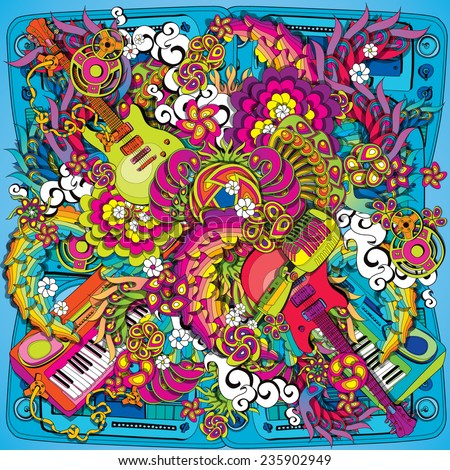 Psychedelic music illustration - stock vector
