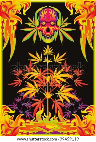 Psychedelic music party flyer background with colorful ornaments, marijuana leaves, cannabis plants, skulls and flames - stock vector