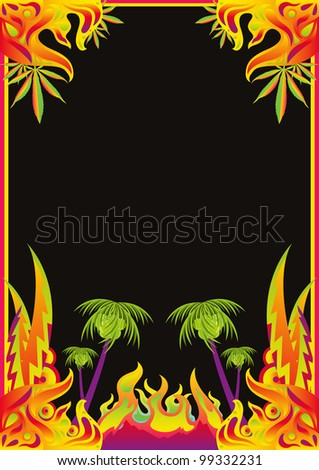 Psychedelic music party flyer background with colorful ornaments, marijuana leaves, palm trees and flames - stock vector