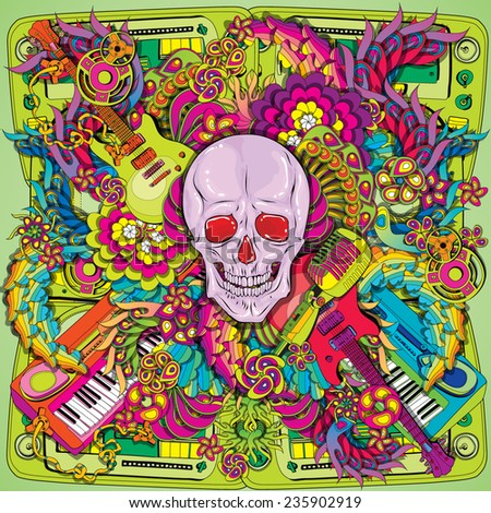 Psychedelic music skull illustration - stock vector