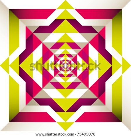 Psychedelic retro background with geometric shapes. Vector illustration. - stock vector