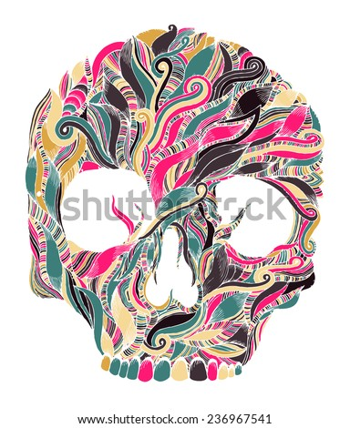 psychedelic scull - stock vector