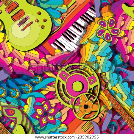 Psychedelic seamless pattern with guitar and synth - stock vector