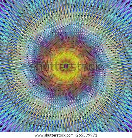 Psychedelic spiral fractal - stock vector