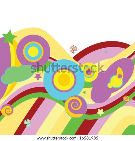 Psychedelic vector abstract background with curves, waves, circles, stars and butterflies. For jpeg version, please see my portfolio. - stock vector