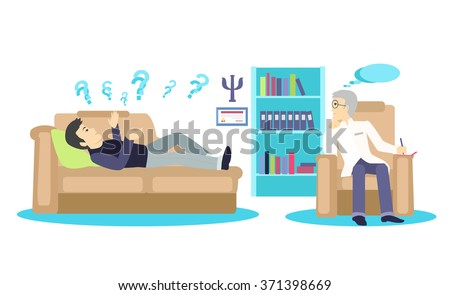 Psychologist concept icon flat isolated. Mental psychology problem, health and psychiatrist, human mind, medical stress, people, issue talking, depression and therapy illustration - stock vector