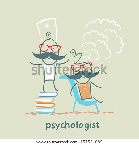 psychologist is on a stack of books and produces steam from the patient's head - stock vector