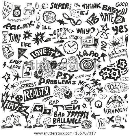 psychology - doodles set - stock vector