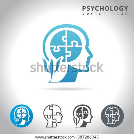 Psychology icon set, collection of puzzle head mind icons, vector illustration - stock vector