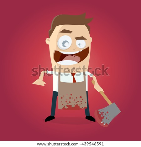 psychopath with bloody hatchet and apron - stock vector