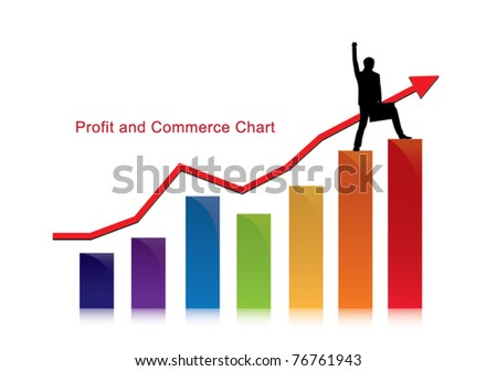 ptofit and commerce chart with successful businessman - stock vector