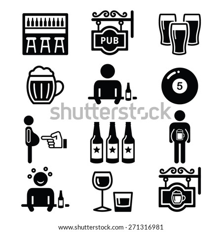 Pub, drinking alcohol, beer belly icons set    - stock vector