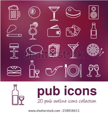 pub outline icons - stock vector