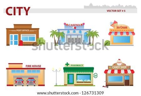 Public building. Set 5 - stock vector