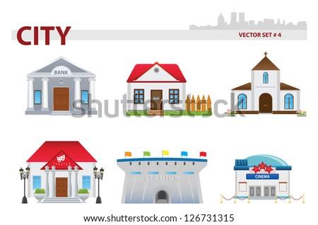 Public building. Set 4 - stock vector