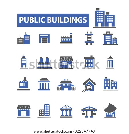 public buildings icons - stock vector