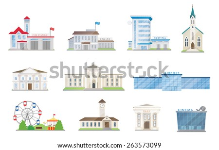 Public city buildings vector set on white - stock vector