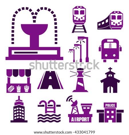 public city icon set - stock vector