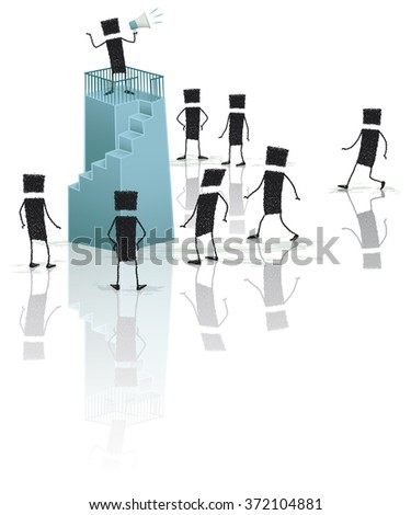 Public discourse. A stick figure is speaking through a megaphone, climb on top of a pedestal. Below, a group of people come to listen. EPS10 file. - stock vector