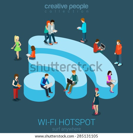 Public free Wi-Fi hotspot zone wireless connection flat 3d isometric web banner template. Creative people surfing internet on WiFi shaped podium. Technology globalization and reachability. - stock vector