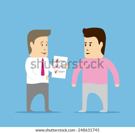 Public opinion poll. Man asked to answer questions - stock vector