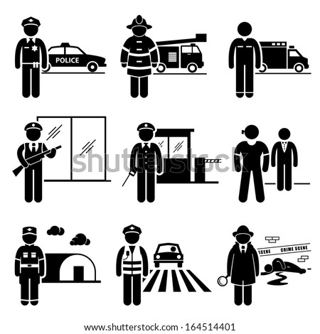 Public Safety and Security Jobs Occupations Careers - Police, Firefighter, EMT, Security Guard, Watchman, Bodyguard, Soldier, Traffic Officer, Detective - Stick Figure Pictogram - stock vector