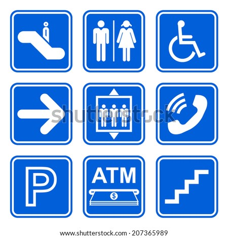 Public service sign icon set on blue background - stock vector