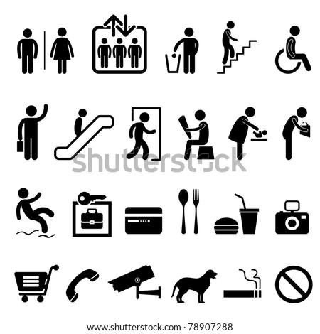 Public Sign Shopping Center Commercial Building Icon Symbol - stock vector