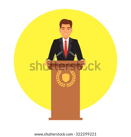 Public speaker standing behind rostrum with emblem and speaking to microphones. Flat style vector illustration isolated on white background.