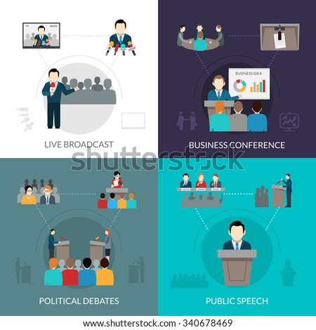 Public speaking design concept set with business conference flat icons isolated vector illustration - stock vector